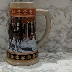 Vintage Budweiser Christmas Holiday Large Stein